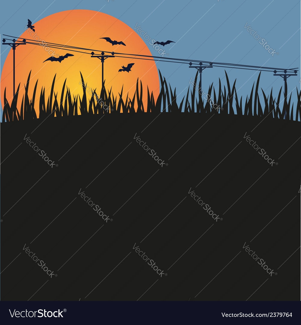 Dark background - night a sunset and bats vector | Price: 1 Credit (USD $1)