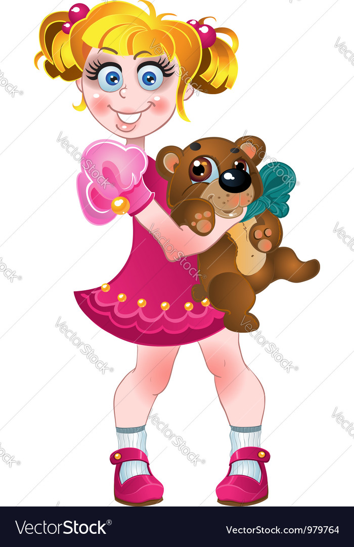 Girl in pink dress with teddy bear vector | Price: 3 Credit (USD $3)