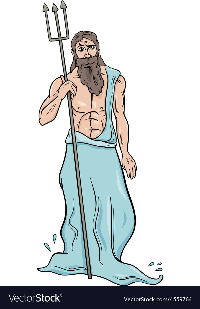 Greek god poseidon cartoon vector