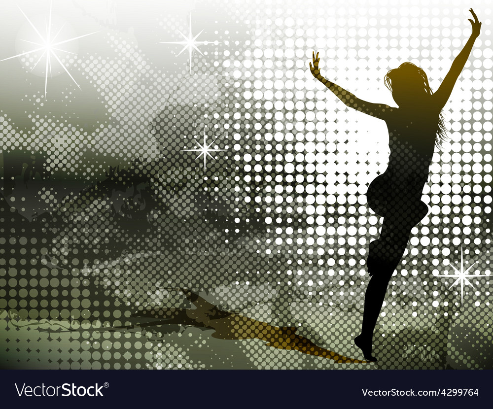 Green background with jumping girl vector | Price: 1 Credit (USD $1)
