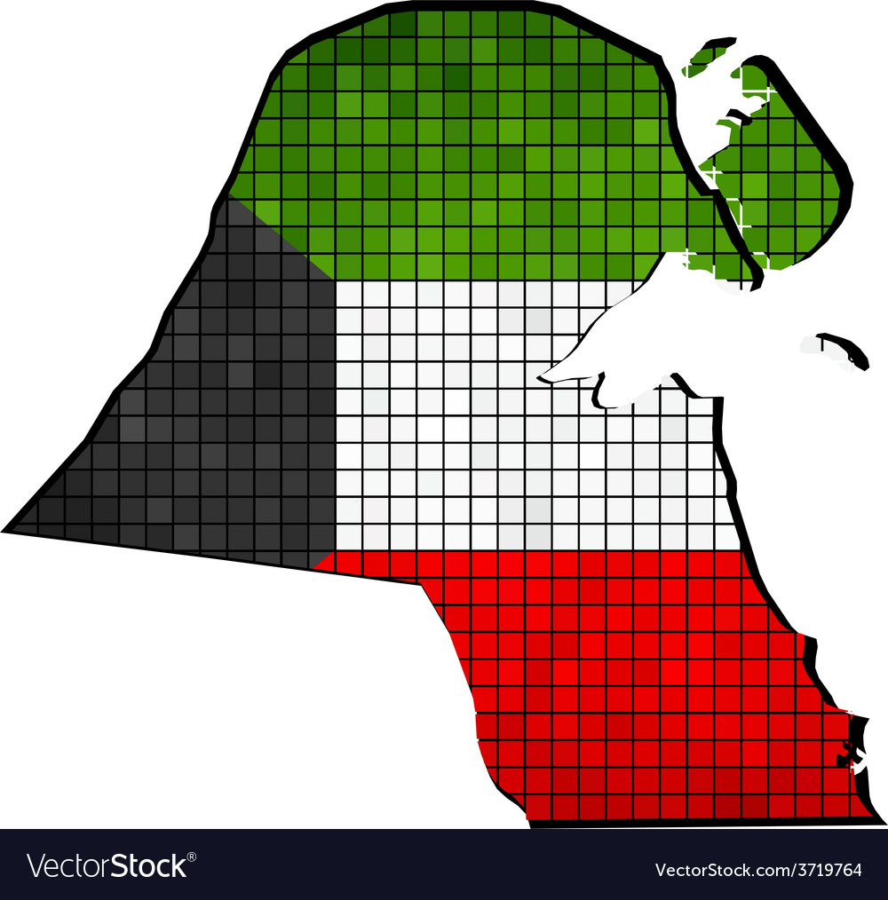 Kuwait map with flag inside vector | Price: 1 Credit (USD $1)