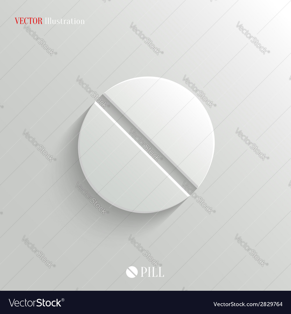 Medicine pill icon - white app button vector | Price: 1 Credit (USD $1)