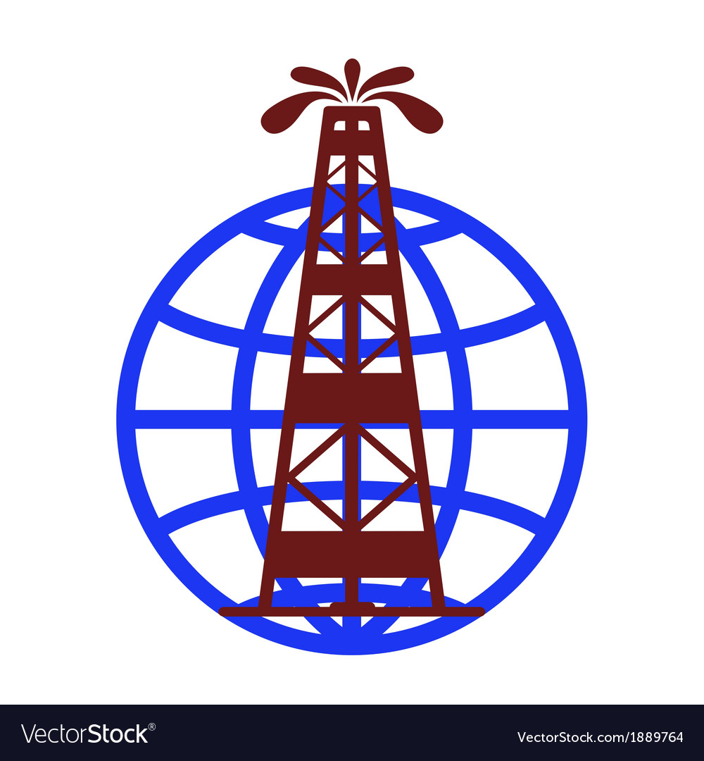 Oil fountain in the background of the globe vector | Price: 1 Credit (USD $1)