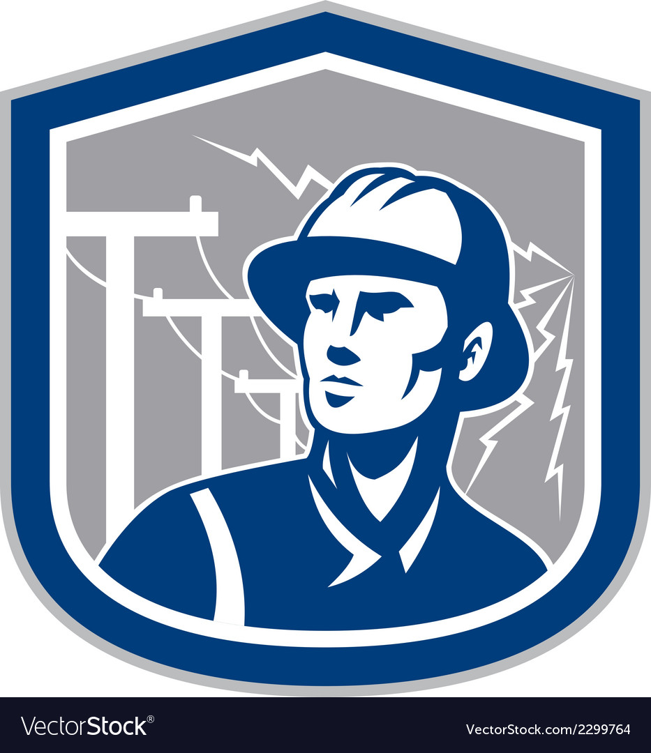 Power lineman repairman shield retro vector | Price: 1 Credit (USD $1)
