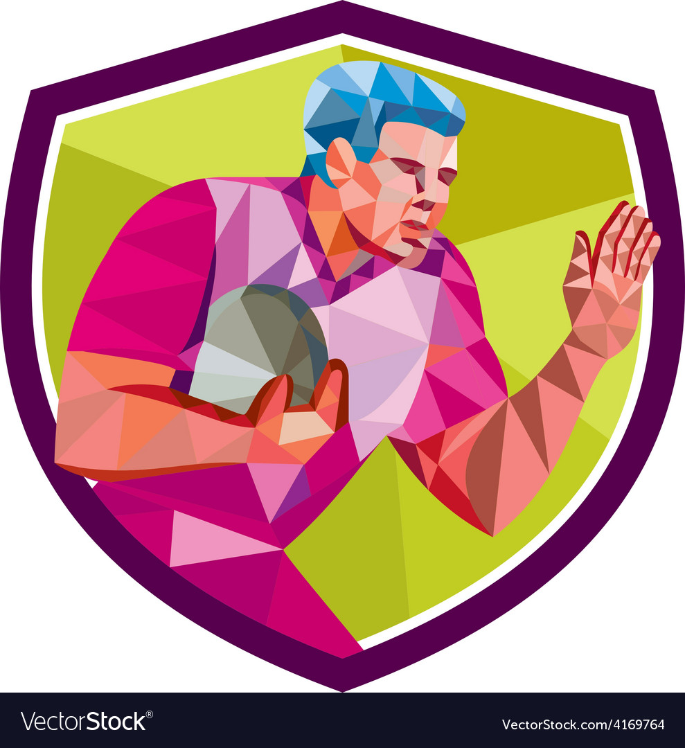Rugby player fend off low polygon vector | Price: 1 Credit (USD $1)