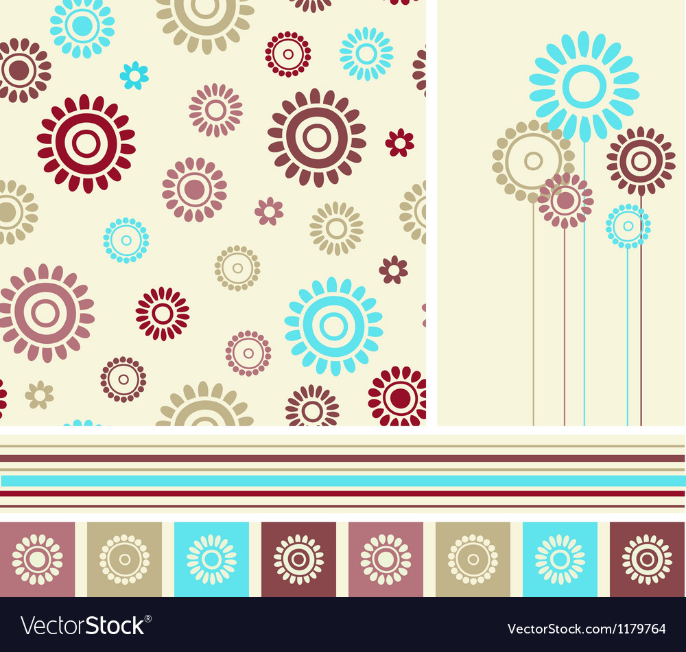 Set of seamless background and decoration elements vector | Price: 1 Credit (USD $1)