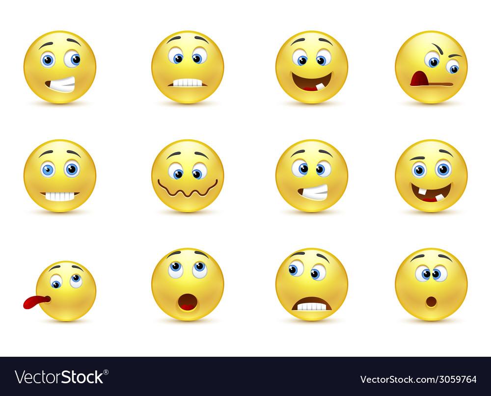Set of smiles crazy vector   Price: 1 Credit (USD $1)