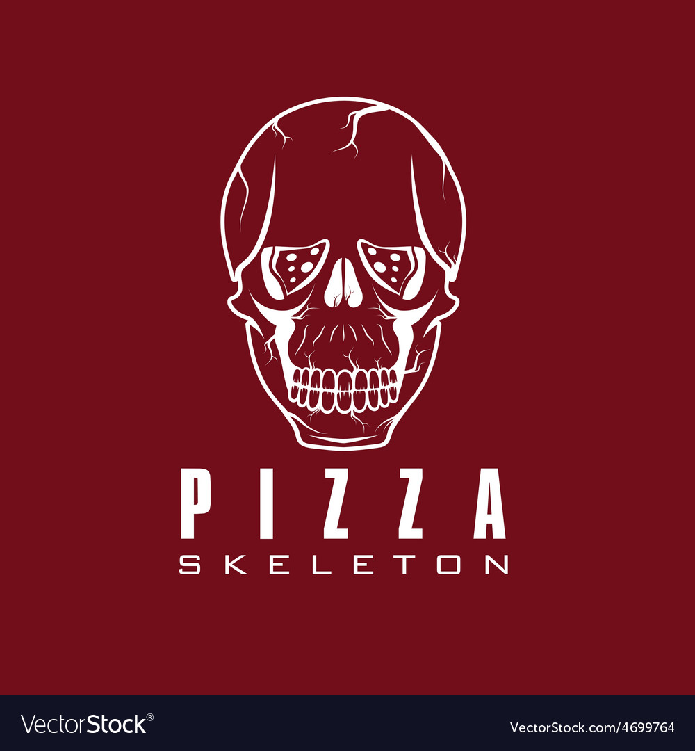 Skull with slice of pizza vector   Price: 1 Credit (USD $1)