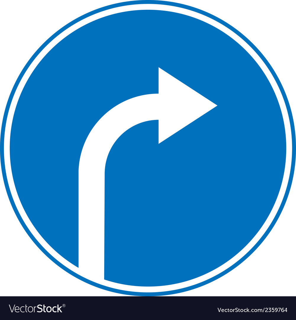 Turn right ahead sign vector | Price: 1 Credit (USD $1)