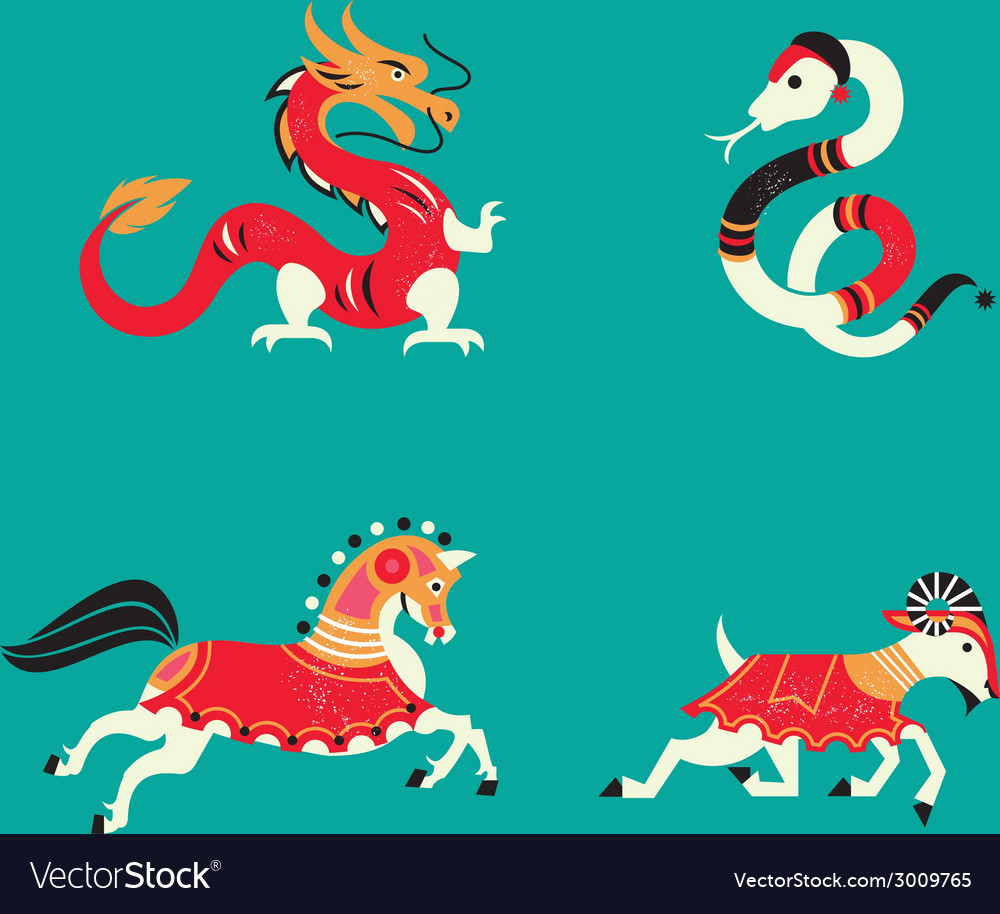 12 chinese horoscope zodiac part b vector