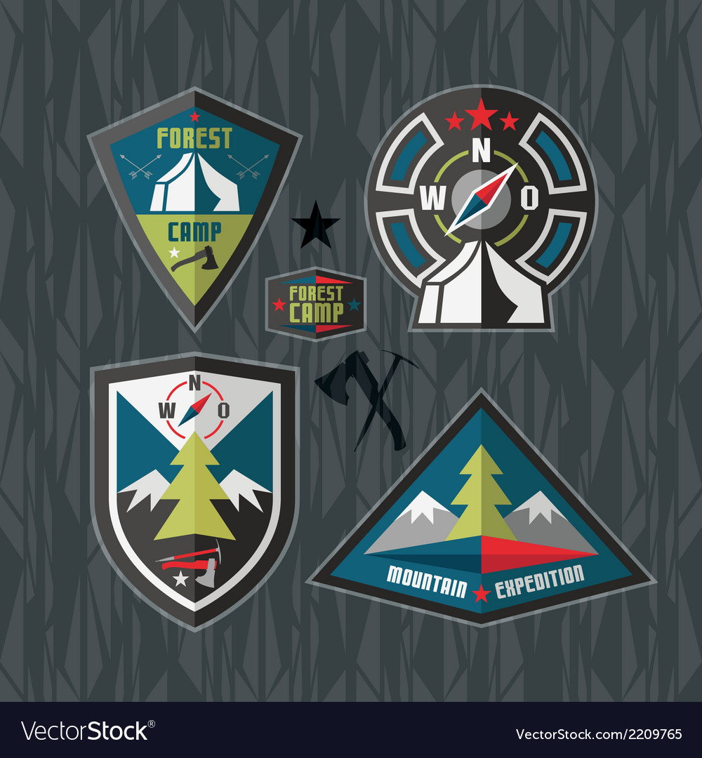 Camping and hiking badges vector | Price: 1 Credit (USD $1)
