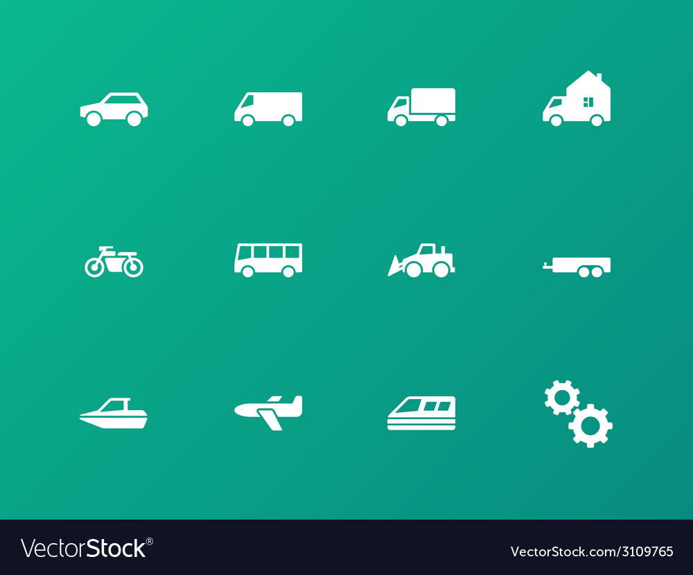 Cars and transport icons on green background vector | Price: 1 Credit (USD $1)