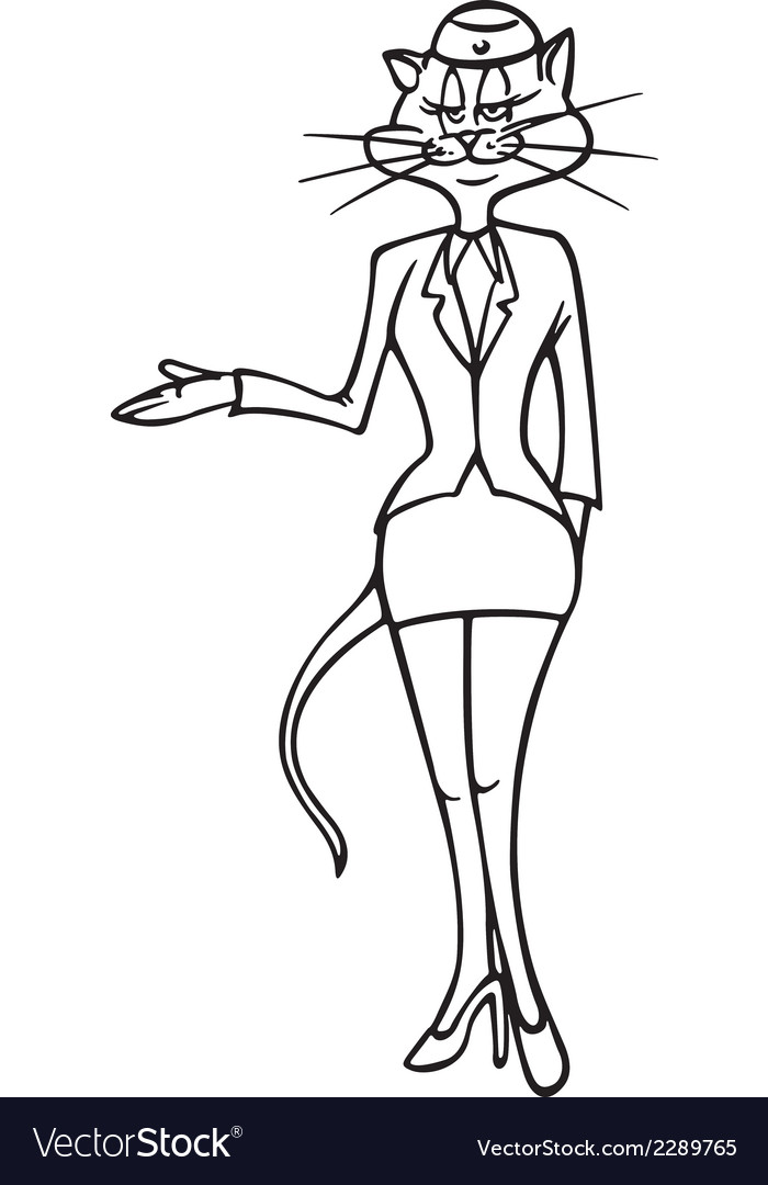 Cat stewardess bw vector | Price: 1 Credit (USD $1)