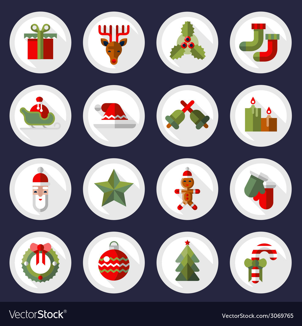 Christmas icons buttons set vector | Price: 1 Credit (USD $1)