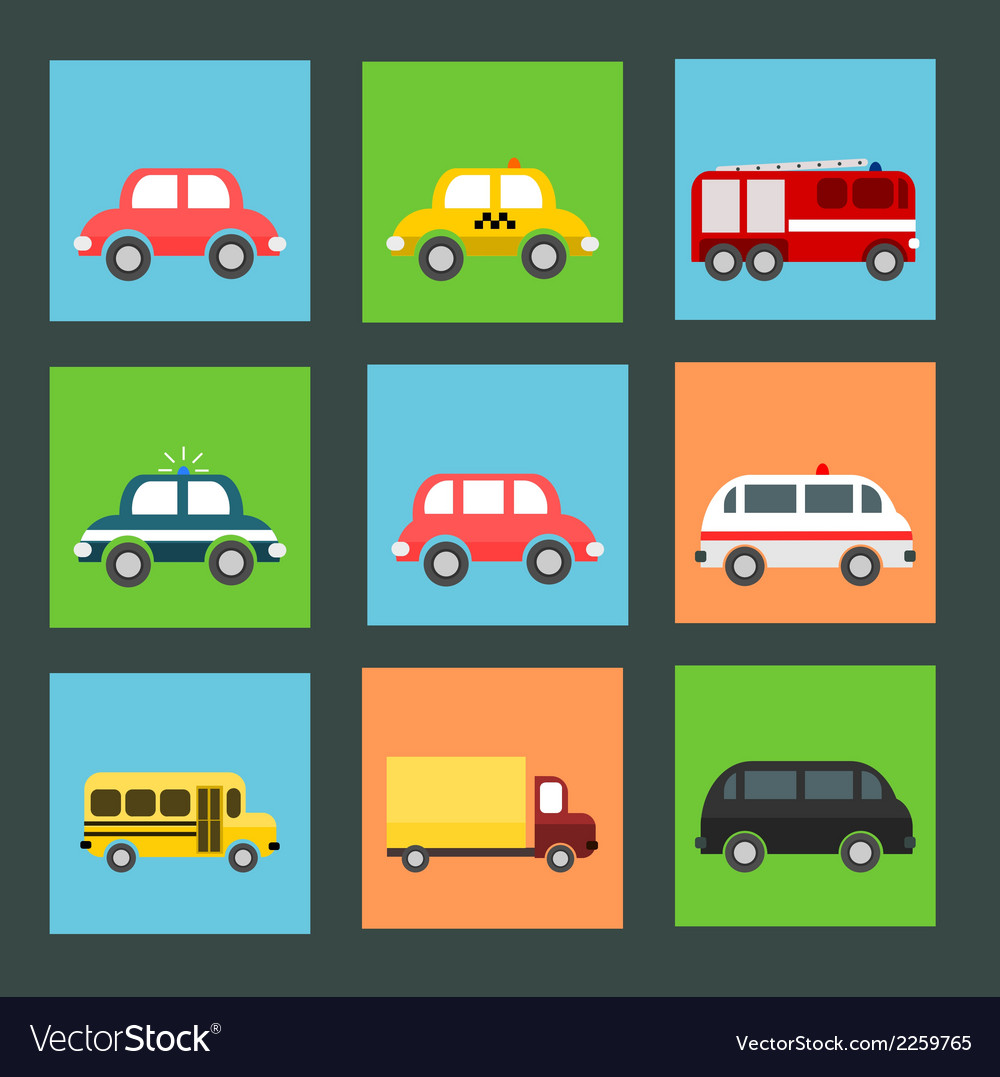 Collection of flat transport icons vector | Price: 1 Credit (USD $1)