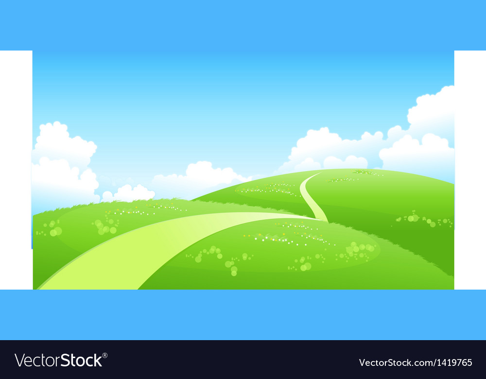 Curved path green landscape vector | Price: 1 Credit (USD $1)