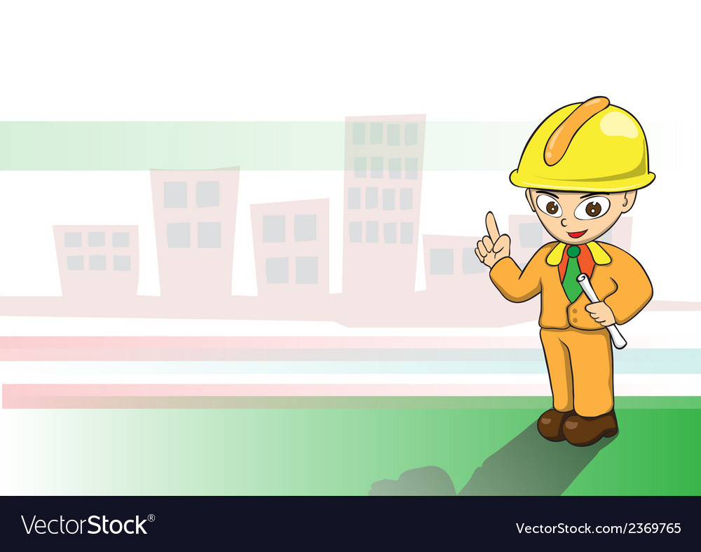 Engineers cartoon on building background vector | Price: 1 Credit (USD $1)