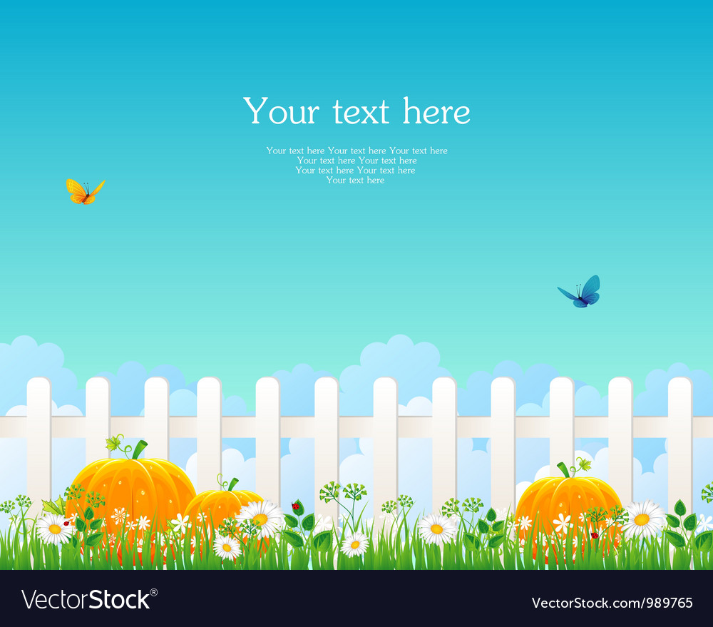 Fence with grass pumpkin vector | Price: 1 Credit (USD $1)