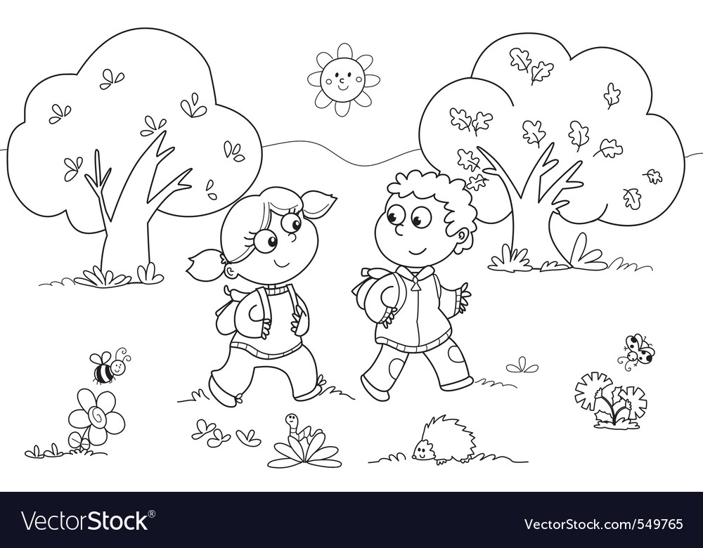 Girl and boy walking vector | Price: 1 Credit (USD $1)