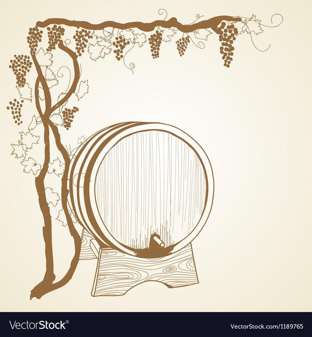 Grapevine and barrel vector | Price: 1 Credit (USD $1)