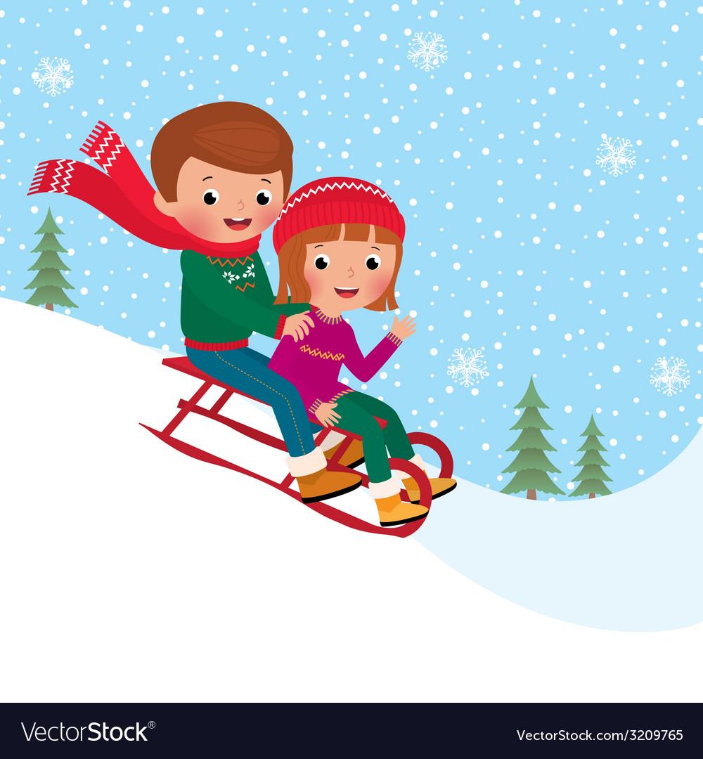 Kids sledding vector | Price: 1 Credit (USD $1)