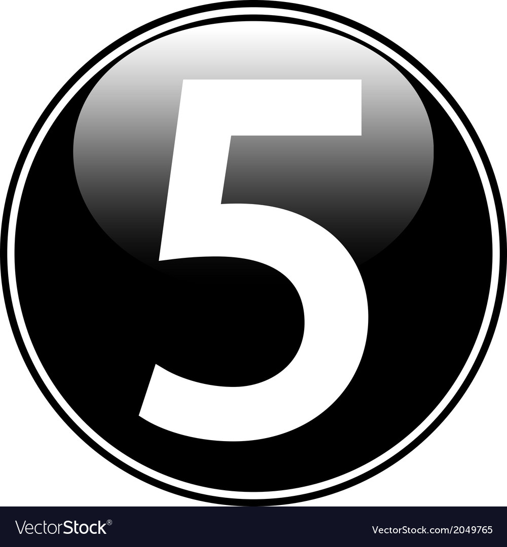 Number five button vector | Price: 1 Credit (USD $1)