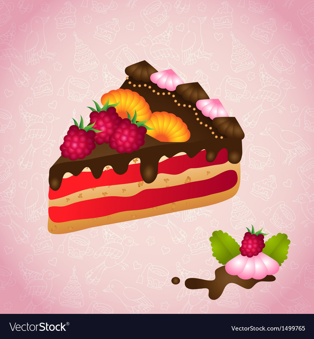 Piece of birthday chocolate cake vector | Price: 1 Credit (USD $1)