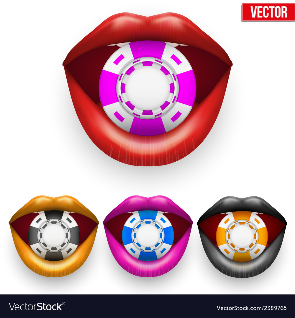 Set of casino colorful chips in female lips vector | Price: 1 Credit (USD $1)