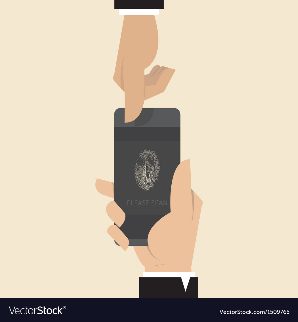 Smart phone with finger print scanner app vector | Price: 1 Credit (USD $1)