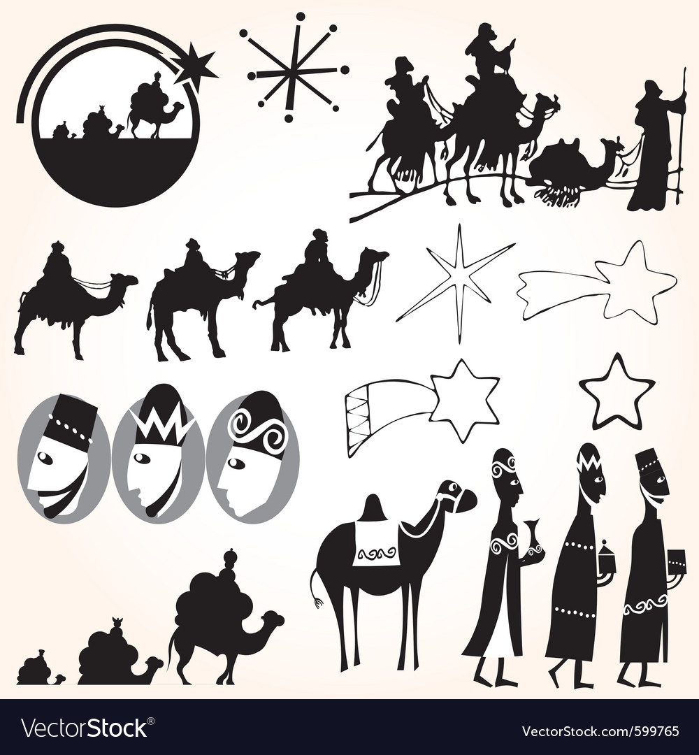 Three wise men christmas set vector | Price: 1 Credit (USD $1)
