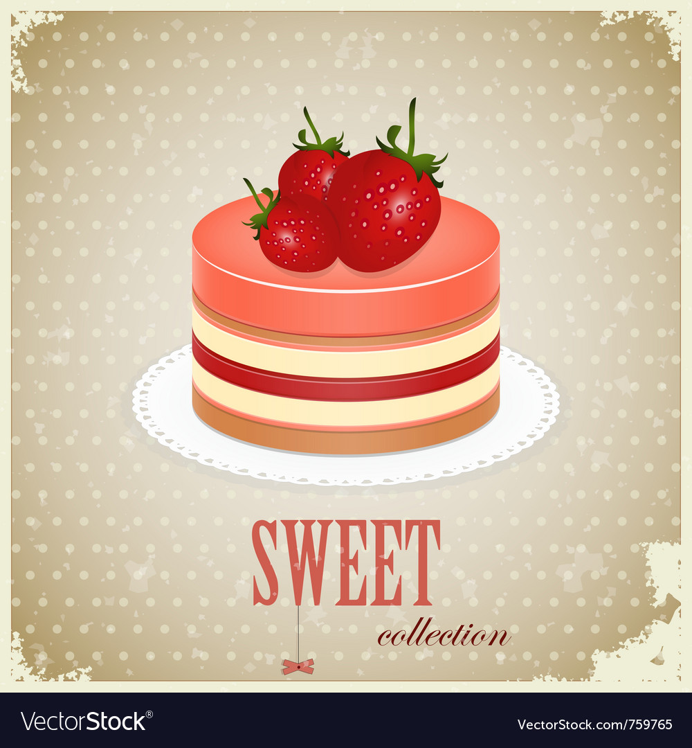 Vintage sponge cake vector | Price: 1 Credit (USD $1)