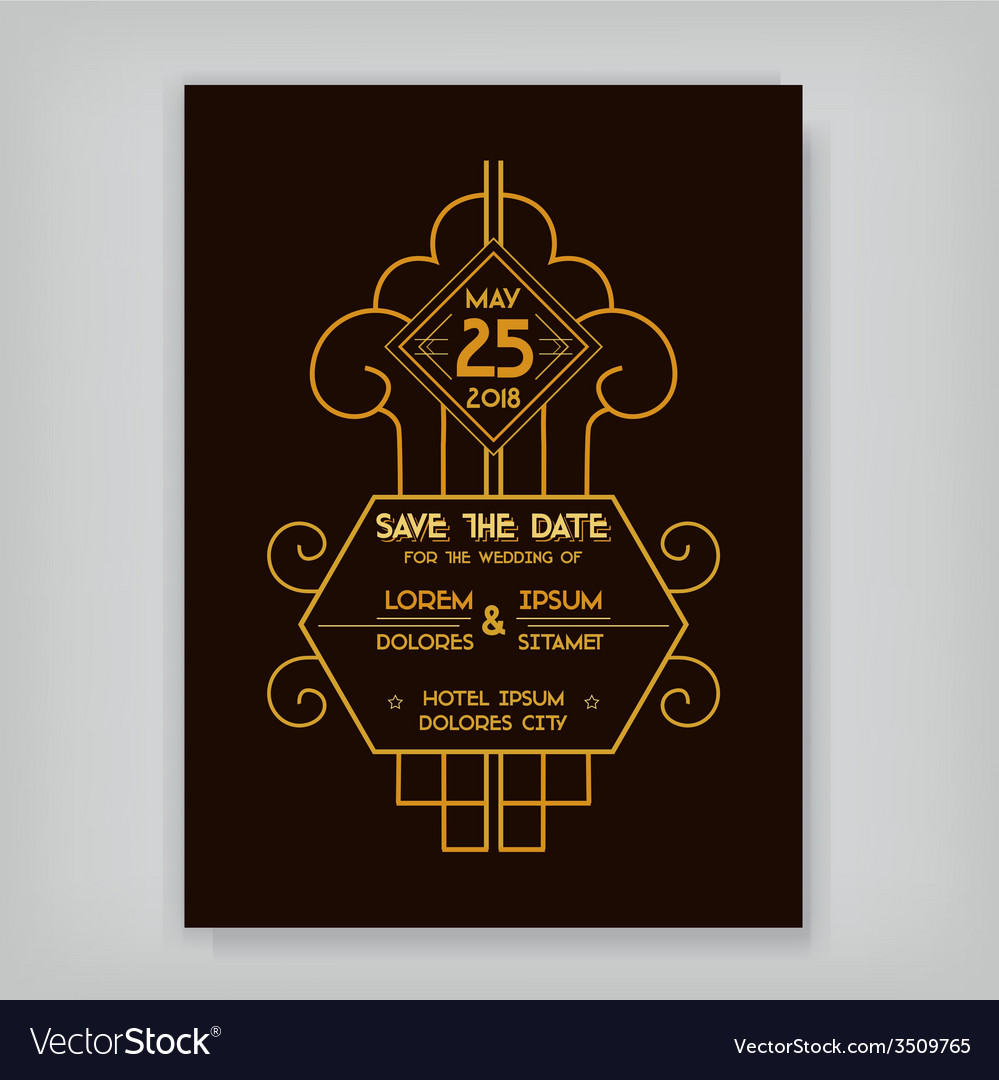 Wedding invitation card - art deco vintage style vector | Price: 1 Credit (USD $1)