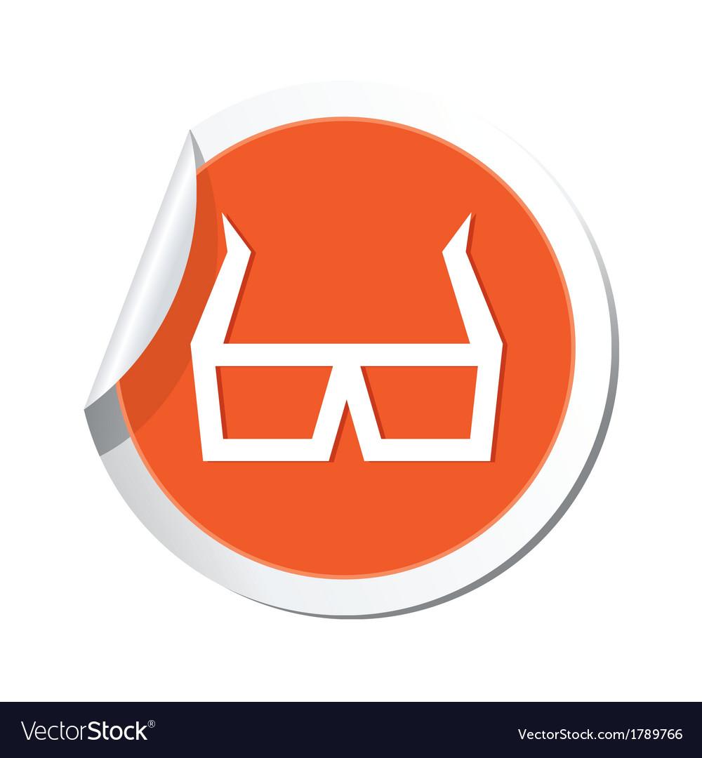3d cinema glasses icon orange sticker vector | Price: 1 Credit (USD $1)