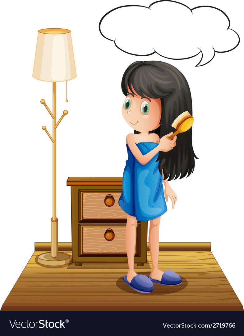 A girl combing her hair with an empty callout vector   Price: 1 Credit (USD $1)