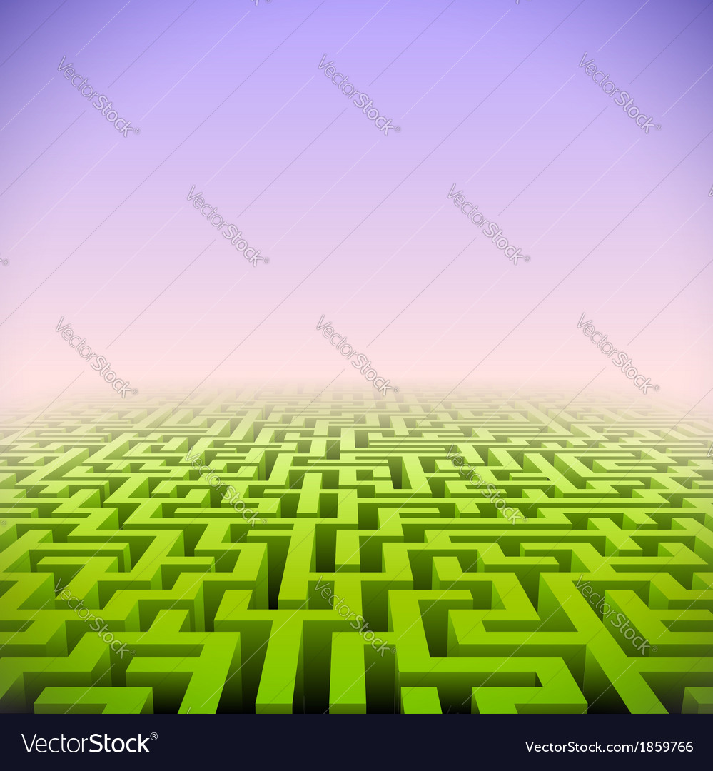 Abstract green perspective labyrinth in pink mist vector | Price: 1 Credit (USD $1)