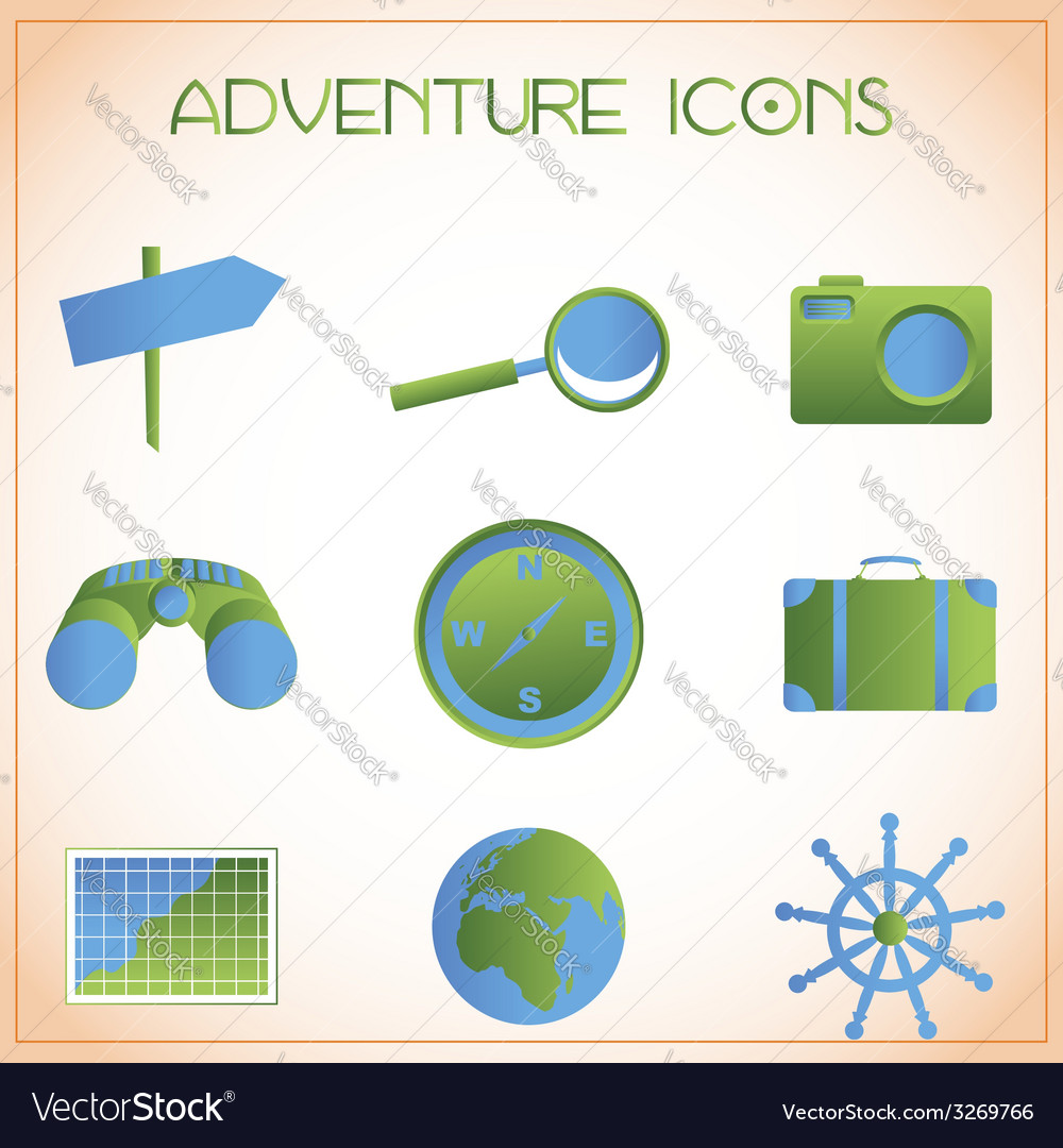 Adventure icons vector | Price: 1 Credit (USD $1)