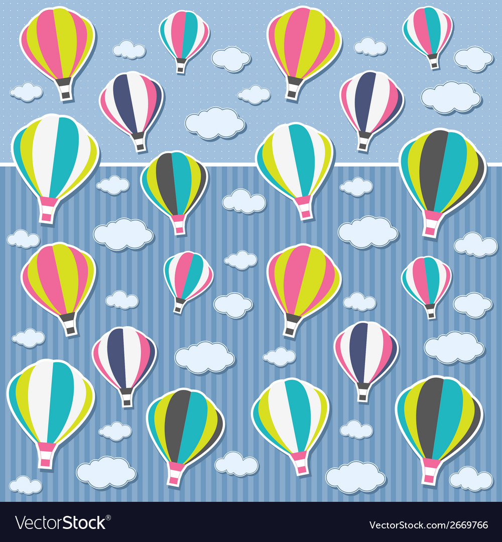 Background with air balloons and clouds vector | Price: 1 Credit (USD $1)