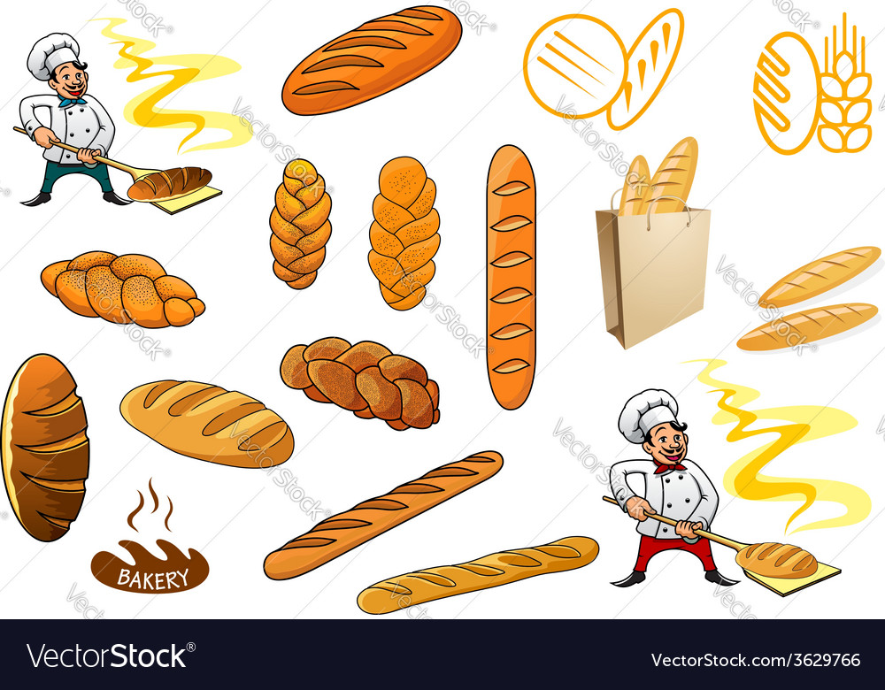 Bakers and isolated baguettes vector | Price: 1 Credit (USD $1)
