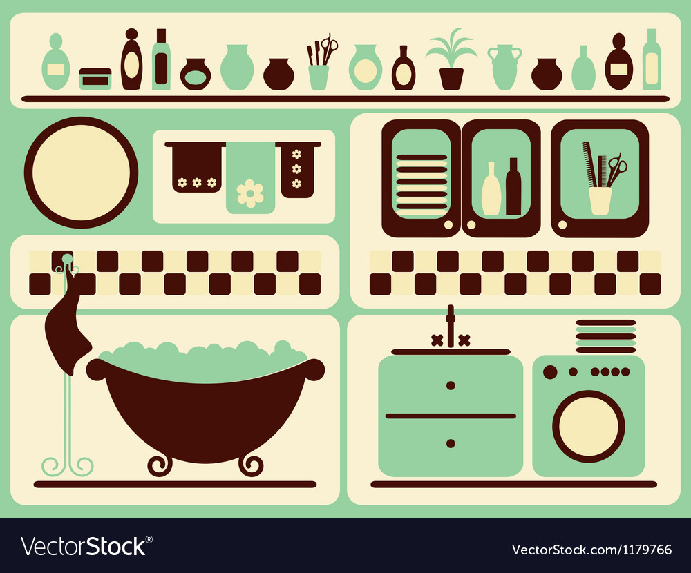 Bath room and bathing objects set vector | Price: 1 Credit (USD $1)