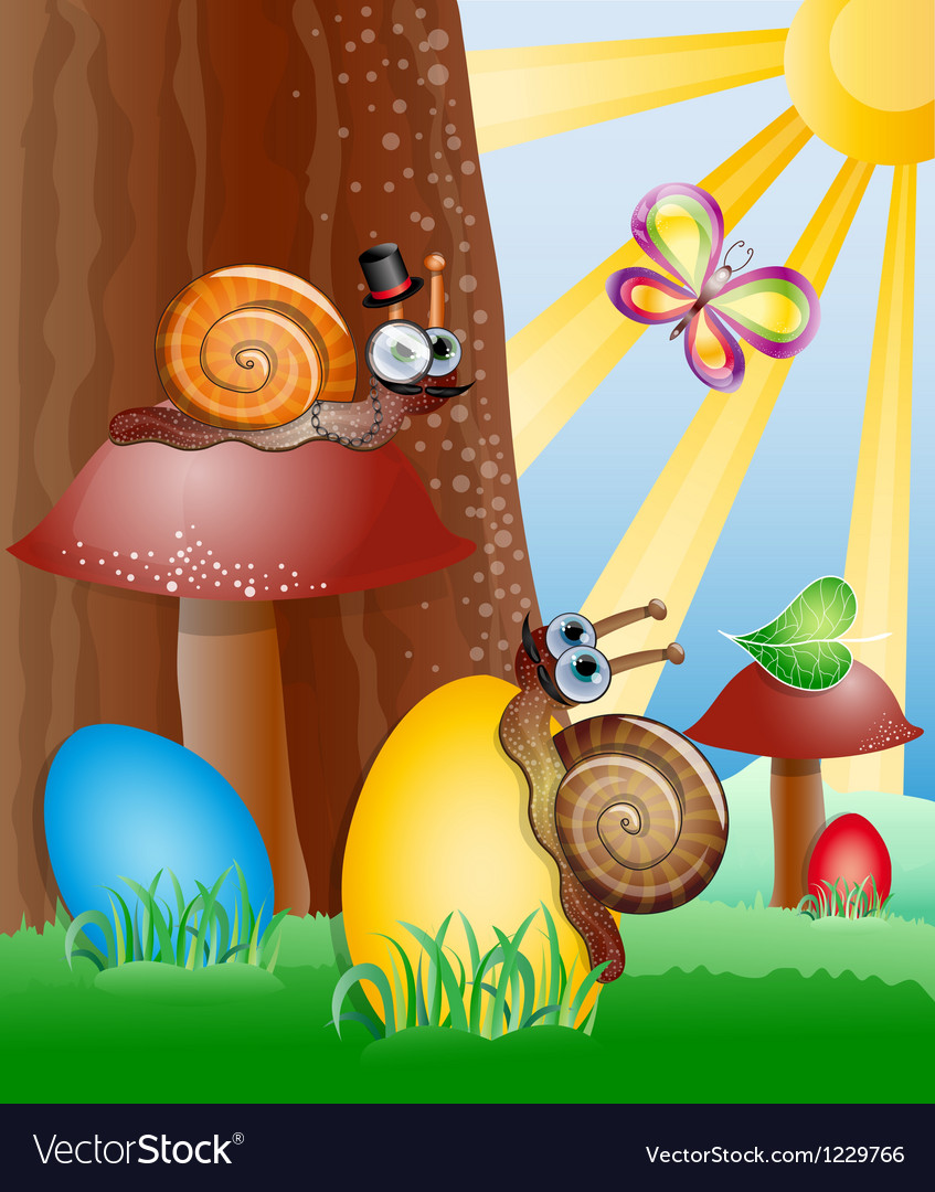 Easter picture with snails vector | Price: 3 Credit (USD $3)