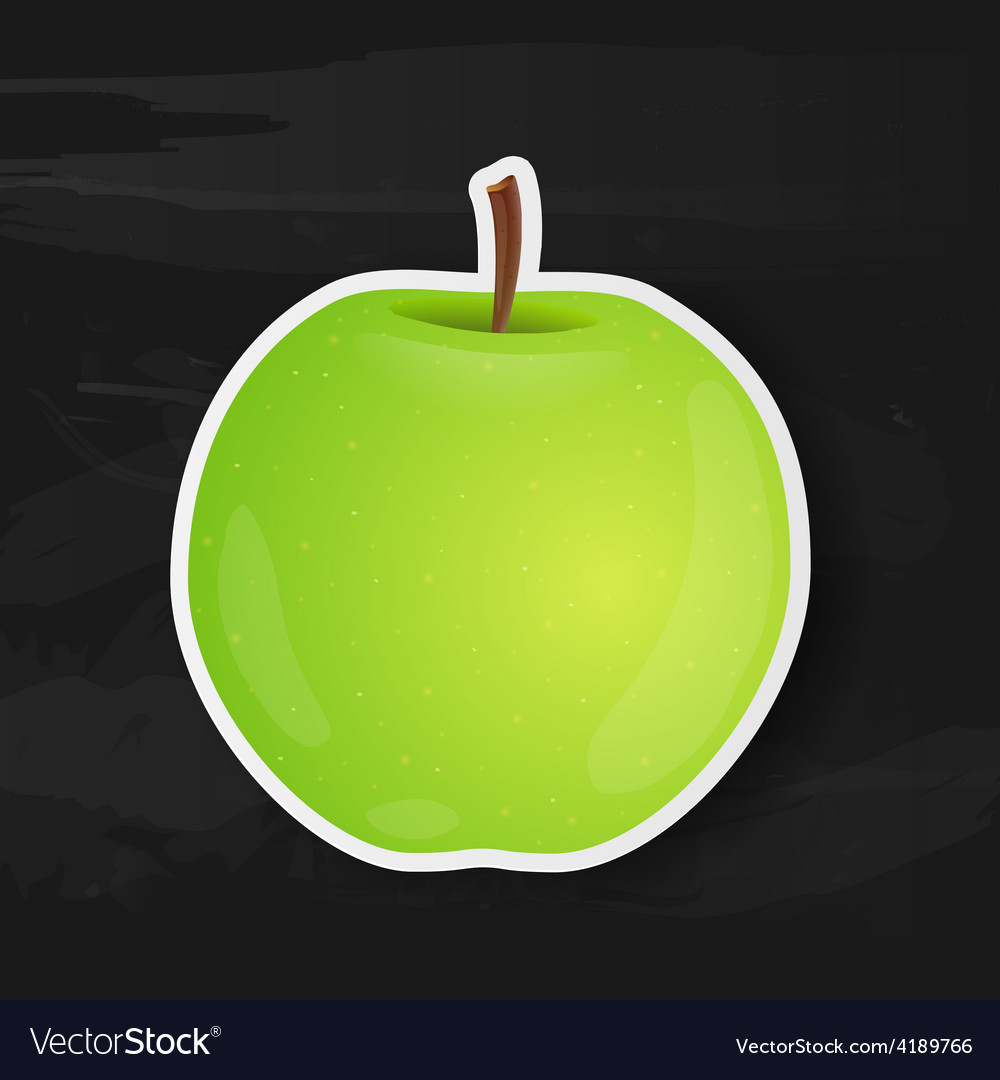 Green apple isolated on black background vector | Price: 1 Credit (USD $1)