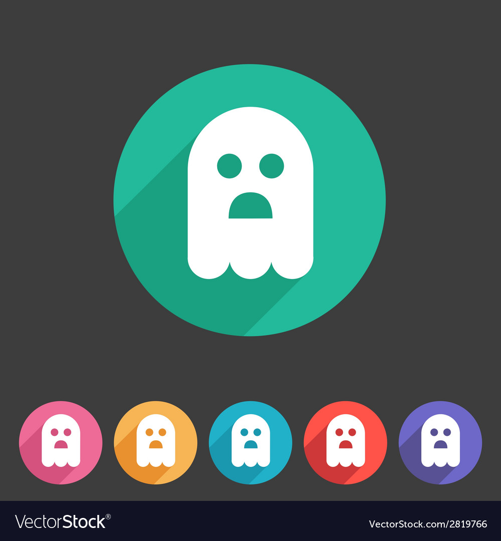 Halloween ghost flat icon badge vector | Price: 1 Credit (USD $1)