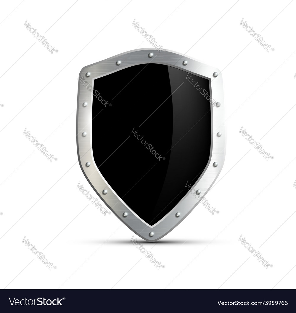 Metal shield with a black screen isolated on white vector | Price: 1 Credit (USD $1)