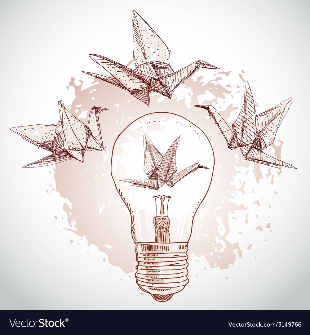 Origami paper cranes and light sketch line on vector | Price: 1 Credit (USD $1)