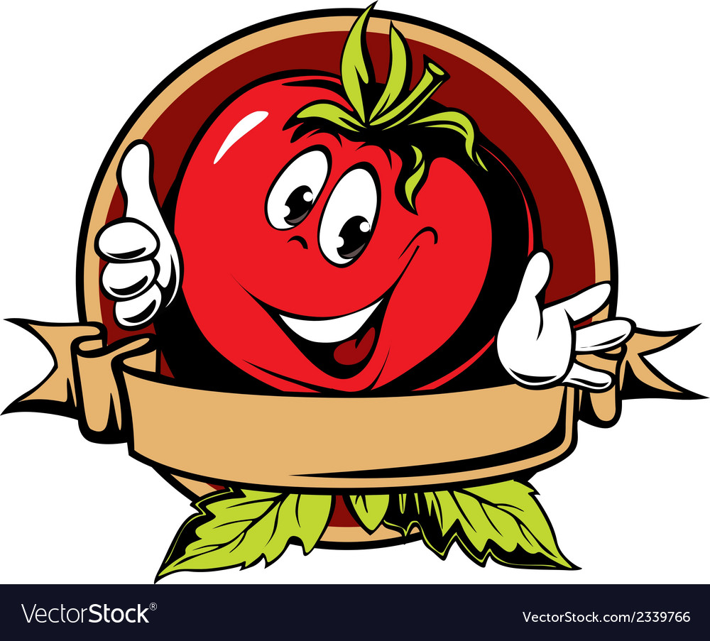 Round tomato cartoon label vector | Price: 1 Credit (USD $1)