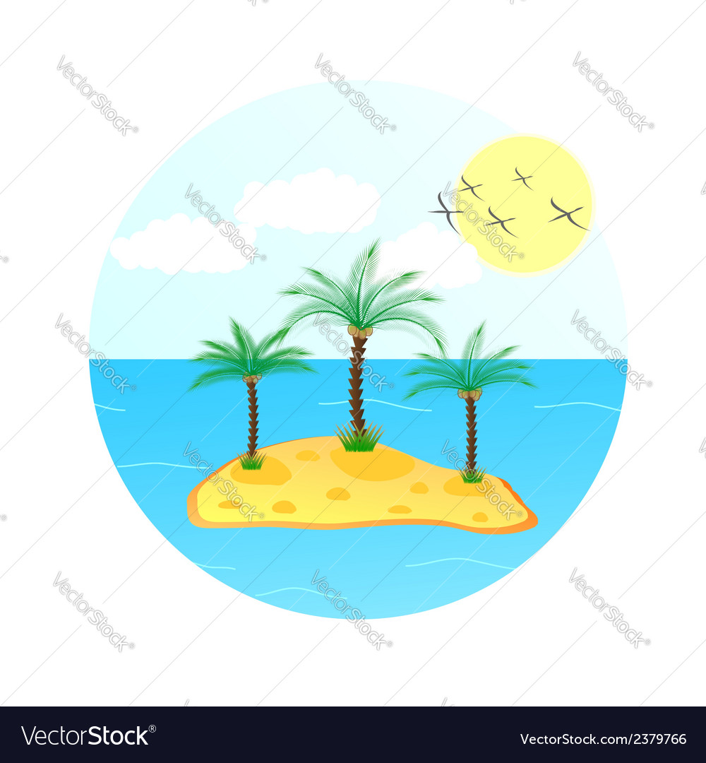 Sea wave with palm tree and sun vector | Price: 1 Credit (USD $1)