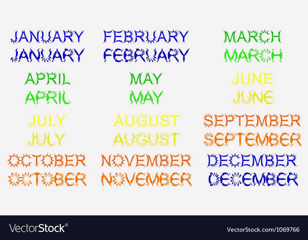 Set for the calendar month vector | Price: 1 Credit (USD $1)