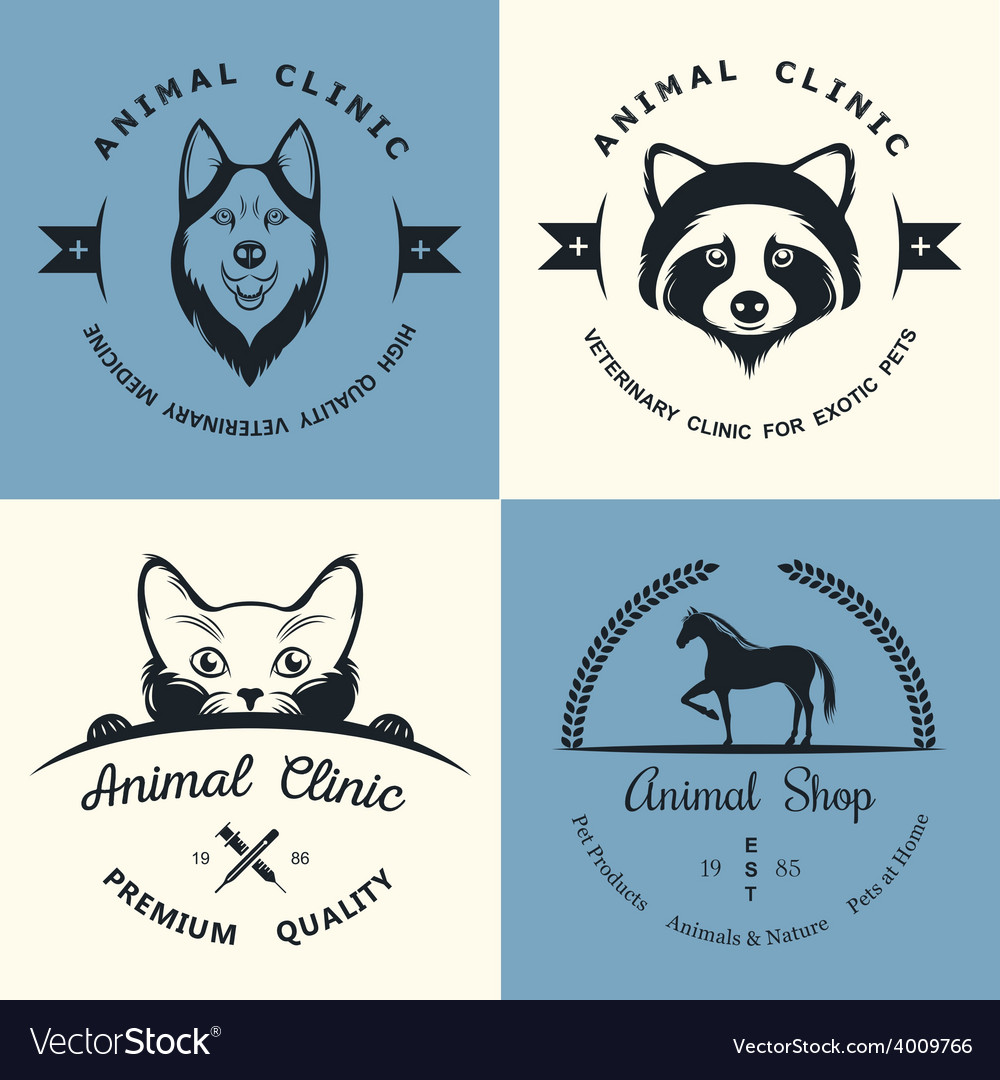 Set of vintage logos for vet clinic vector | Price: 1 Credit (USD $1)