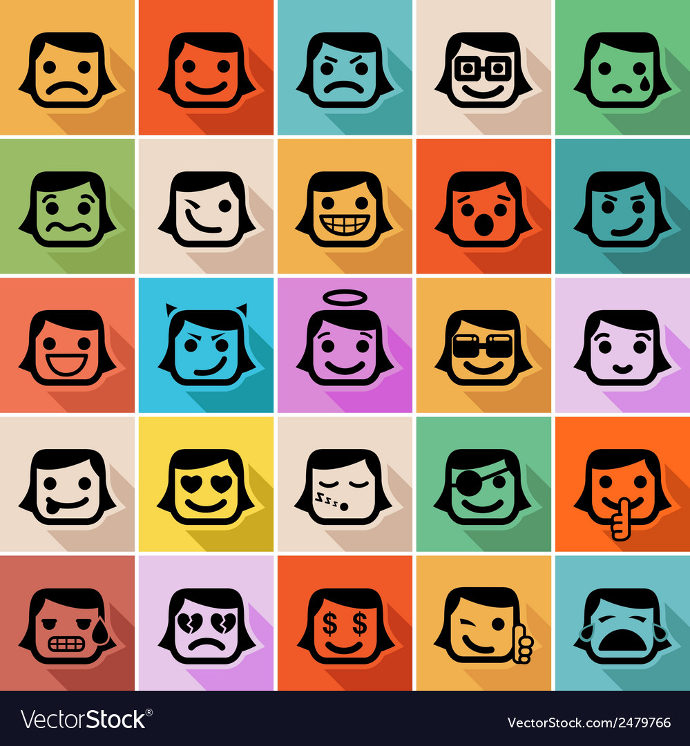 Smiley faces icon set vector | Price: 1 Credit (USD $1)