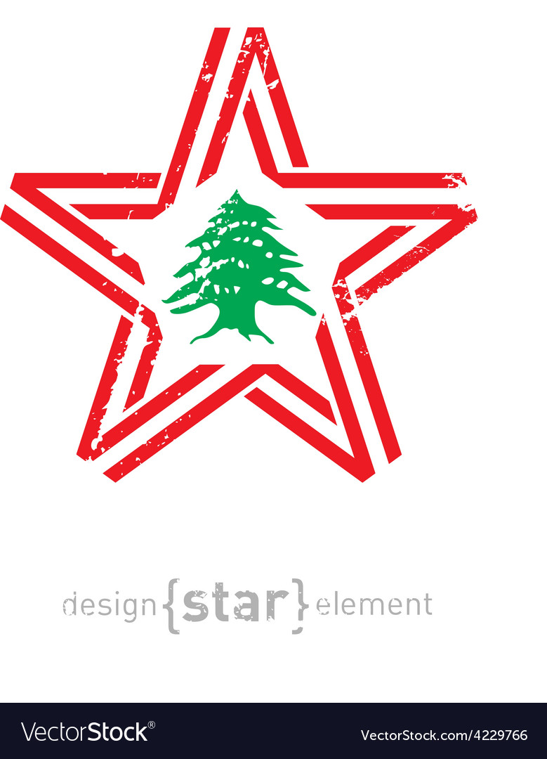 Star with lebanon flag colors symbols and grunge vector | Price: 1 Credit (USD $1)